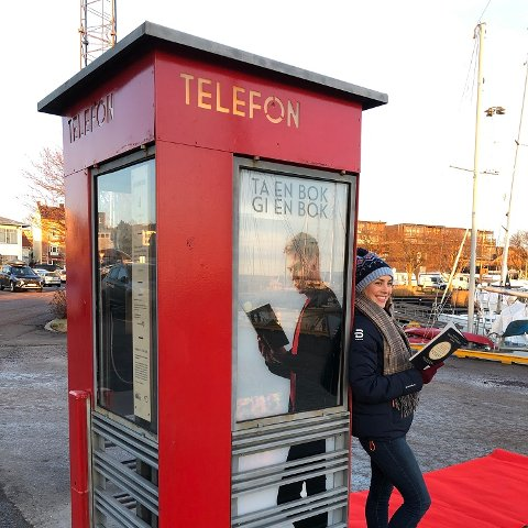 Lesekiosker åpnes nå over hele landet. Her fra åpningen i Horten i januar. Foto: Vibeke Røgler/Foreningen !les