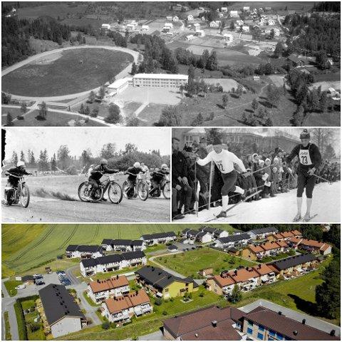 UTVIKLING: Brumunddal travbane har historisk sett vært en arena for store travløp, skistjerner og motorsport. Nå er det bare navnet som antyder hva området opprinnelig ble brukt  til der en liten bydel gradvis har reist seg.