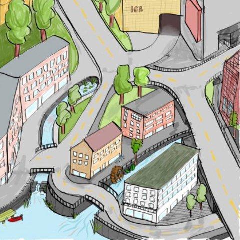 – Hvorfor ikke  implementere vannet i bymiljøet, spør Per Martin Nordli. (Illustrasjon: Per Martin Nordli)