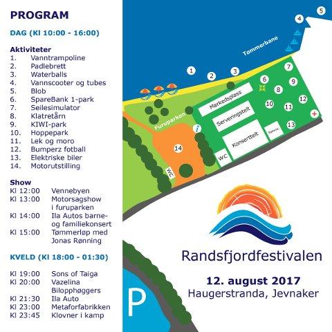 Oversikt: Festivalens program og kart.