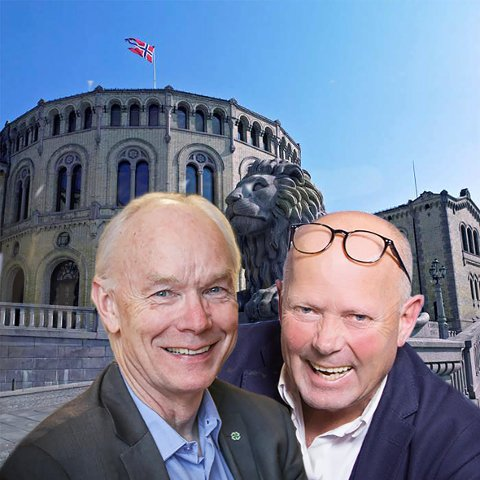 RETT FRA LEVRA: Per Olaf Lundteigen og Per Bleikelia skal få igang debatten på arrangementet Norsia tenker tanker på Kooperativen mandag.  Fotomontasje: Terje Andersen