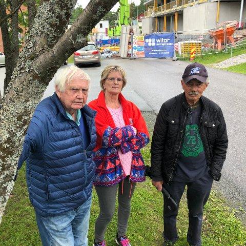 GRØNTOMRÅDER: - Vi ønsker å beholde det lille som er av grøntområder her, sier nestleder i Solbo borettslag, Bjørg Brådalen, her sammen med beboer Arvid Edvartsen (til venstre) og John Johnsen i kirkelig fellesråd.