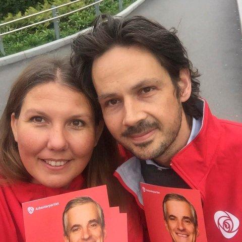 KJÆRLIGHETEN: Gry og Casper forelsket seg på Utøya. Politikken er også noe de har felles. Her fra valgkampen i 2017.