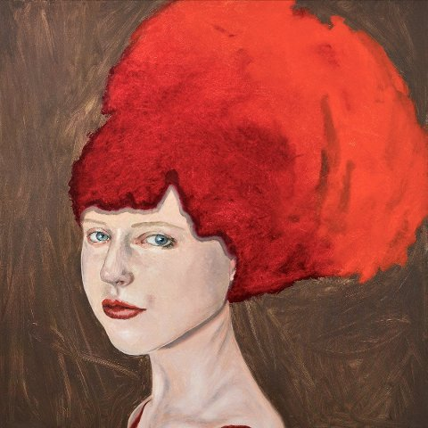 """UTVALGT: Maleriet """"Vilde"""" er valgt ut til sommerutstillingen """"Portæt NU!"""" på Fredriksborg slott. - Jeg tenkte det kunne passe til denne utstillingen hvor portretter er tema, sier kunstneren bak verket - Liv Solberg Andersen. (foto Galleri - L)"""