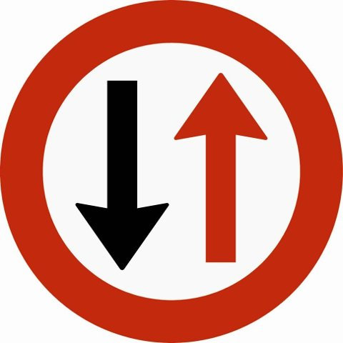 Dette skiltet forteller deg at du har vikeplikt for møtende kjøretøy.