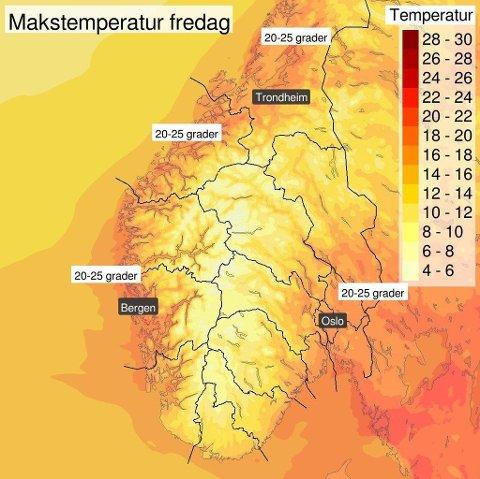 MER SOMMER: Sommeren 2018 endte 1,8 grader over normalen, og varmen tar ikke slutt. Slik ser temperaturprognosene for fredag ut. (Meteorologisk institutt)