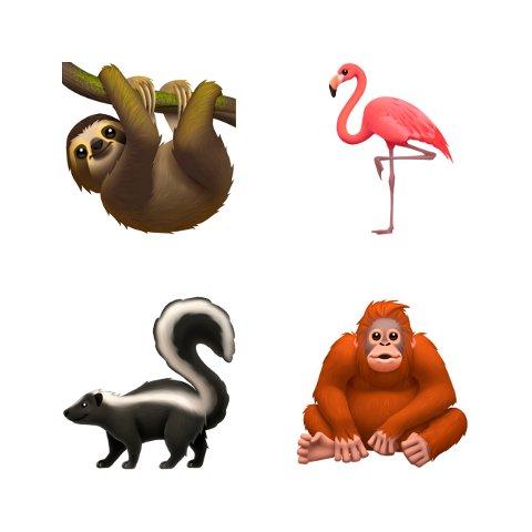 Dette bildet viser noen av Apples nye emojier. Fra venstre dovendyr, flamingo, stinkdyr og orangutang. Foto: Apple via AP / NTB scanpix