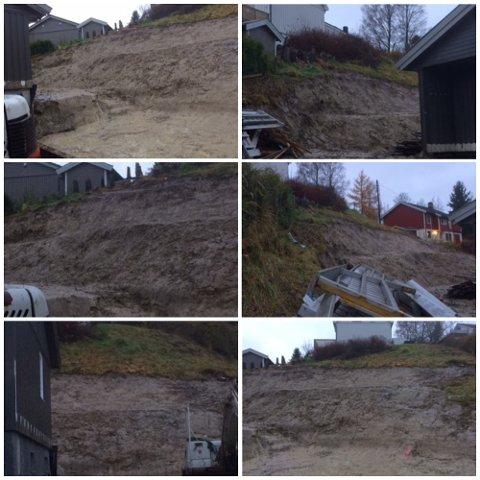 FJERNET VEGETASJON: Flere busker skal ha blitt fjernet før gravearbeidet på tomta startet. Kommunen ser alvorlig på saken og mener terrenginngrepet kan gjøre skråningen mer ustabil, men har samtidig konkludert med at det ikke er umiddelbar fare for ras.