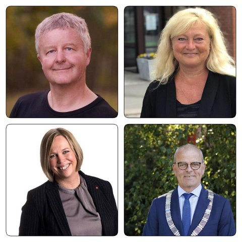 ROPER VARSKO: Arbeiderpartiets Vestfold-ordførere Are Karlsen (Horten), Anne Rygh Pedersen (Tønsberg), Jon Sanness Andersen (Færder) og Elin Gran Weggesrud (Holmestrand).