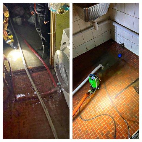 BISTO: Mannskaper fra Sande Brannstasjon hjalp lokale huseiere med å få vannet ut av kjelleren.