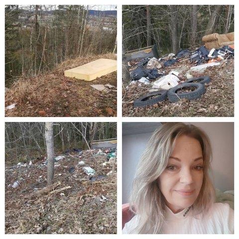 VILLFYLLING: Her er noen av bildene Wanne Kristin Rosenvinge (innfelt) tok i Hanekleiva. – Hva feiler det folk som gjør slikt, spør hun.