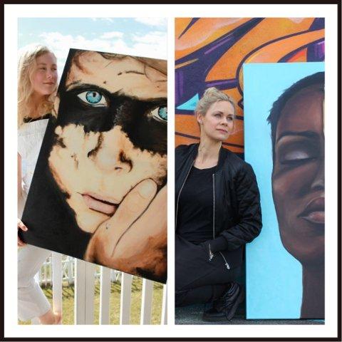 DUO: Irene Therese Vatnar Rasmussen (t.h.) og Martine Rasmussen stiller ut malerier sammen.