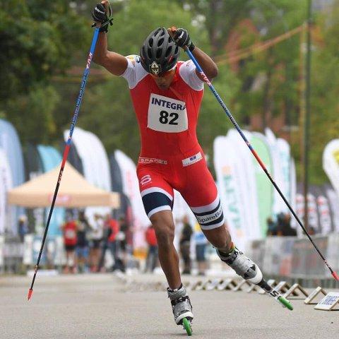PÅ PALLEN: Kristian Ankersen sprintet igjen inn til en pallplassering. Runar-gutten tok andreplass i Sverige.