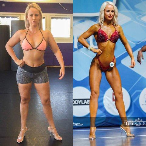 FØR OG ETTER: Silje Wexal Horslund forteller at hun må gå ned mellom 15 og kilo før hun konkurrerer i bikinifitness.