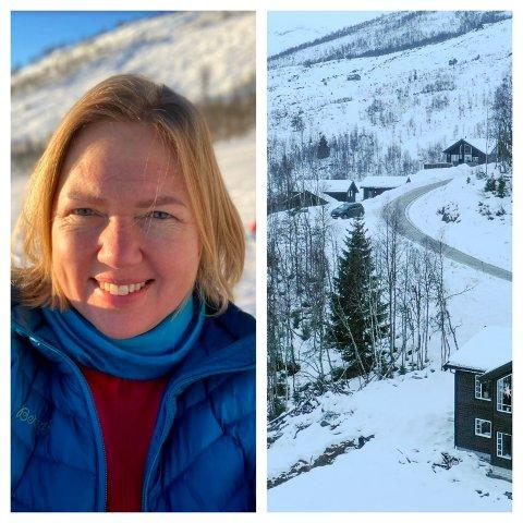 UTAN VATN: Hytteeigar Rebecca Munch-Tufte nyttar dagen ute på ski, men vil reisa heim til Bergen dersom ikkje vatnet snart kjem tilbake på hytta i Hodlekve.