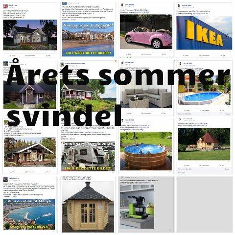 SVINDEL: Kjenner du igjen noen av disse annonsene? Har du likt og delt på Facebook? Se flere annonser nede i saken. (Foto: Datahjelperne)