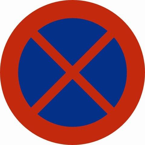 Dette skiltet betyr at all stopp er forbudt. Hvis det bare er èn rød strek på tvers, betyr det parkering forbudt.