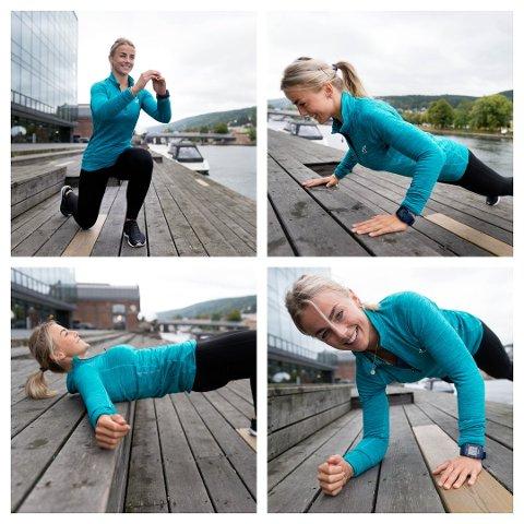 EFFEKTIV TRENING: Pia Seeberg viser fem øvelser for hvordan du kan trene hele kroppen effektivt på under et kvarter. Foto: Tore Sandberg
