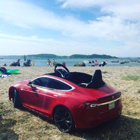 STJÅLET: Denne utgaven av Tesla Model S ble stjålet fra barna i familien. Små og store fortviler.