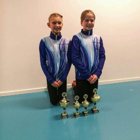 """Drillduett: (f.v.) Thea Madeleine Waldal (10) og Runa Frøytun (11), stakk av med gullet i kategorien """"Drilldans Duett"""". Nå vil de kvalifisere seg til NM."""
