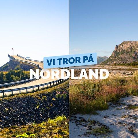 """NORDLAND ELLER NORDMØRE?: Det står """"Vi tror på NORDLAND"""" i Høyres kampanje, men bildet til venstre er fra Nordmøre."""