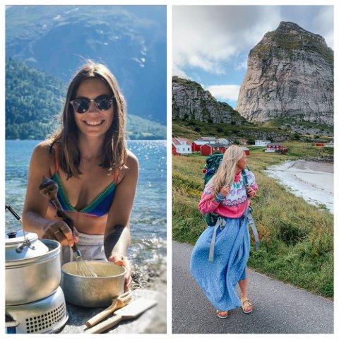 Julie Kristin (fra venstre) og Tina Cathrin inspirerer andre til å gå på tur gjennom Instagram.