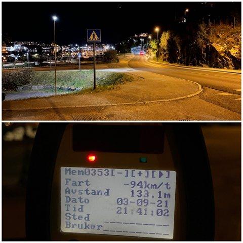 UP stoppet en 18-åring for å ha kjørt godt over dobbelt så fort som fartsgrensen i Kranaveien sent fredag kveld. Han ble tatt i 94 km/t i 40-sonen.