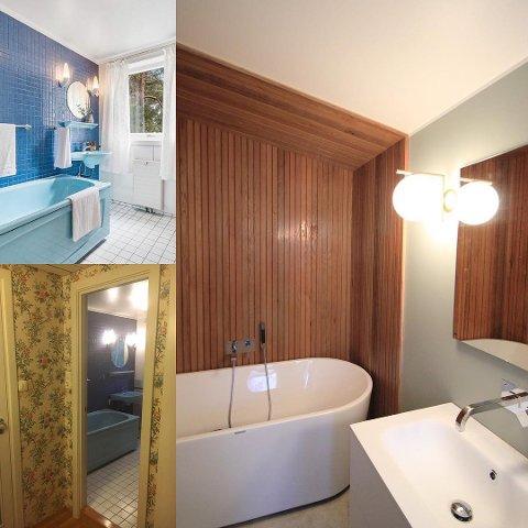 NYTT BAD: I husets andre etasje ble en gang, et bad og et separat toalett slått sammen for å bli mer brukervennlig. En innebygget skråhimling ble åpnet opp for å framheve arkitekturen.