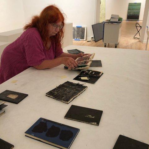 MYE Å TA AV: Billedkunstner Edith Spira har hat ett stort utvalg arbeider å plukke fra når hun nå har montert årets høstutstilling på Haugar kunstmuseum.