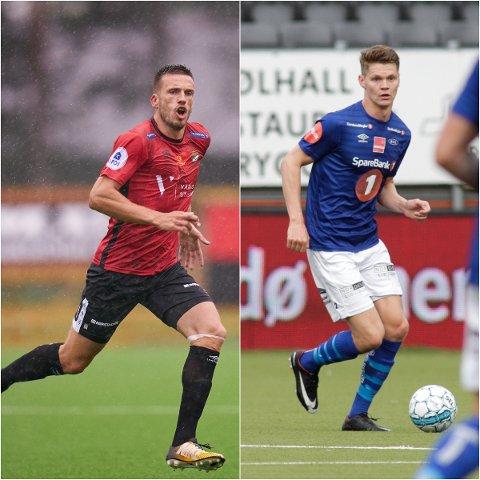 DUELL: Mats Lillebo (t.v.) og Blink jakter scoringer borte mot Ranheim onsdag kveld. Det skal midtstopper, Christian Eggen Rismark, forsøker å forhindre.