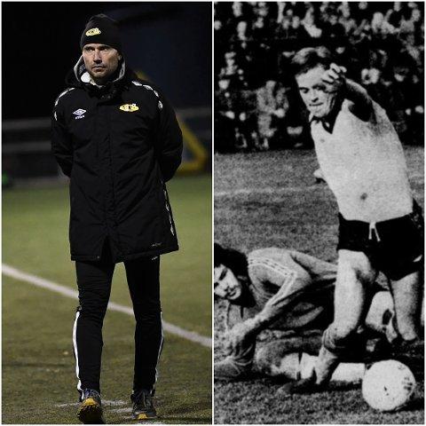 MOT LYSERE TIDER: Til høyre Asle Hoseth fra en av Steinkjers storhetstider. Til venstre dagens SFK-trener Mattias Nylund.