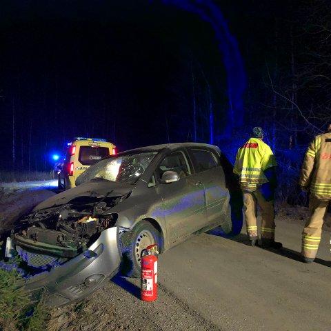 Store skader i fronten: Bilen son var involvert i en ulykke torsdag morgen har store skader i fronten.