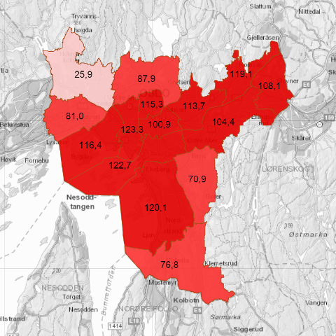 Færrest smittede er det fortsatt i bydel Vestre Aker med 25,9 smittetilfeller per 100.000. Ingen bydeler ligger dermed under den «røde grensa».