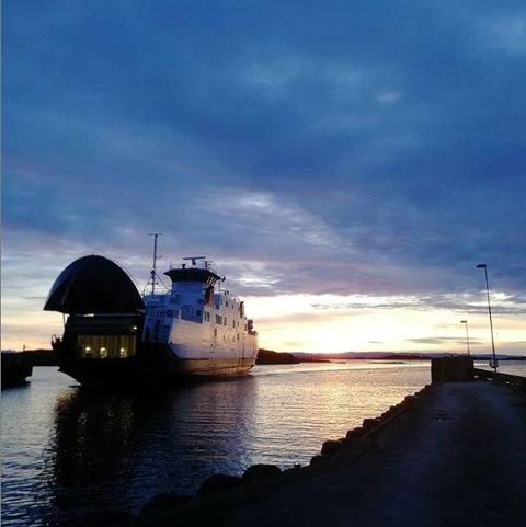Kvitsøy: Fjordveien i solglans.