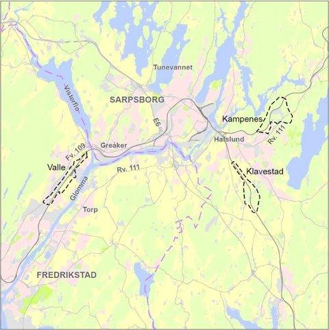 STORE OMRÅDER: Oversiktskart over de tre alternativene for togparkering som Bane NOR ønsker å utrede i Nedre Glomma-regionen.