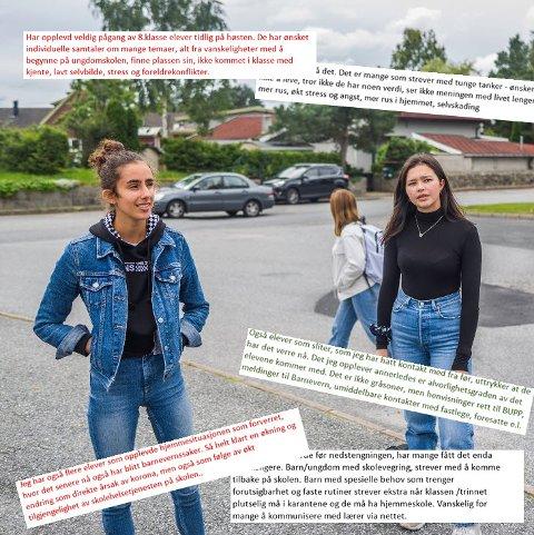 – Mange sliter psykisk. Tenker på ting de ikke burde tenke på. Julia Evelin Stensnes-Martini (18) og elevrådsleder på Greåker videregående skole, Ann-Christin Sarmiento Olsen (17), liker ikke tanken på å ha mer hjemmeskole.