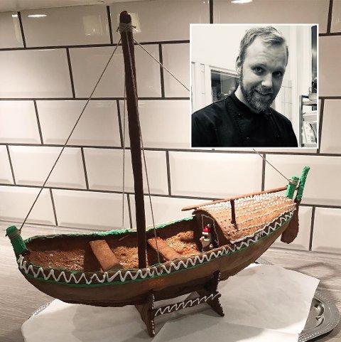 Fembøring: Kokken Nils Martin satte av rikelig med tid til å lage årets pepperkakeprosjekt, en fembøring. Bla deg gjennom bildene i toppen for å se hvordan båten ble til. Alle foto: Privat