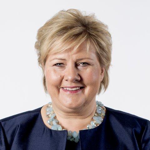 Statsminister Erna Solberg besøker Kvinnherad. (Pressefoto).