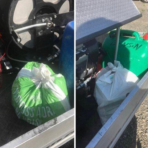 Søppel: Her hadde campinggjester kastet fra seg søppel på brannbilen.