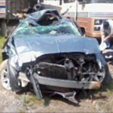 VRAK: Slik så bilen til Petterson ut etter kollisjonen som han kom helskinnet fra.
