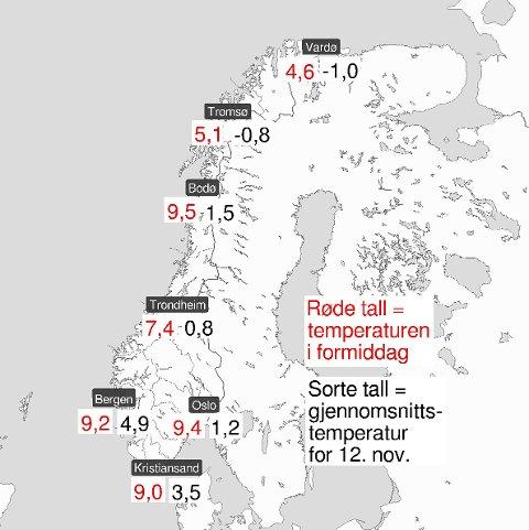 MILDT: Meteorologisk Institutt la ut dette bildet på Twitter mandag kveld. Det er unormalt varmt stort sett over hele landet for tiden.