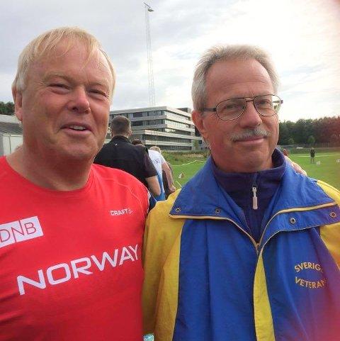 SUVEREN: Arild Busterud tok gull i slegge foran Kenneth Jansson fra Sverige i veteran-EM i friidrett, som foregår i Aarhus.