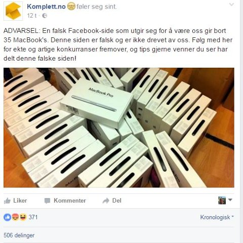 ADVARER: Komplett advarer mot falsk konkurranse på Facebook. (Skjermbilde)