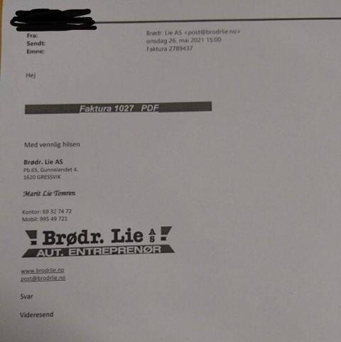 Onsdag er det sendt ut en rekke falske fakturaer fra Brødrene Lie. Har du fått denne e-posten tilsendt 26. mai, bør du ikke åpne lenken.