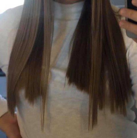 Slik så håret til Hanne Parelius (24) ut etter klippen på Niktia City Nord.