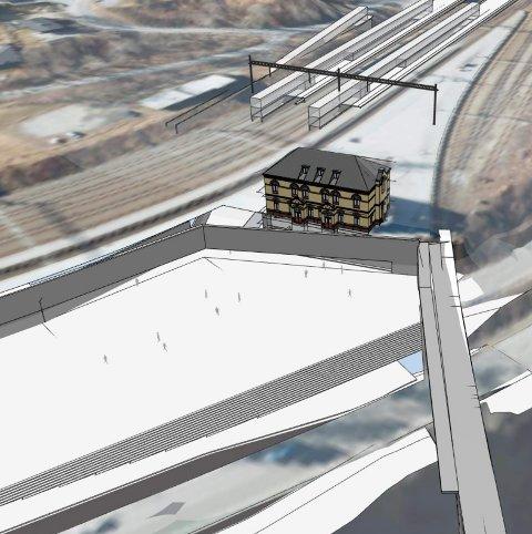 I forgrunnen ser vi det planlagte statsjonstorget. Rett bak stasjonsbygningen kommer 350 meter med nye plattformer. Illustrasjon: Fellesprosjektet/NAA AS
