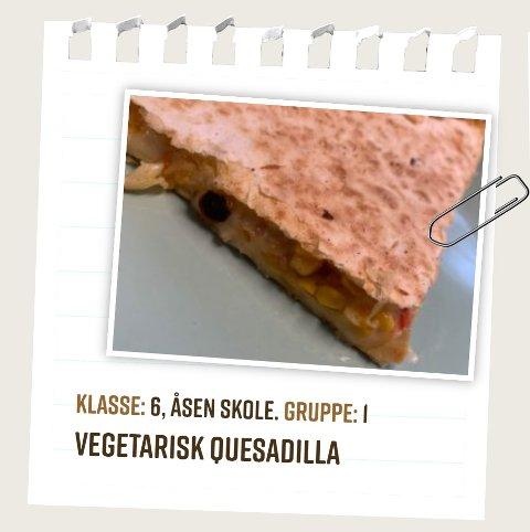 VINNEROPPSKRIFT: Åsen-elevene fikk juryens smaksløker til å juble med denne vegetariske tortillaen.