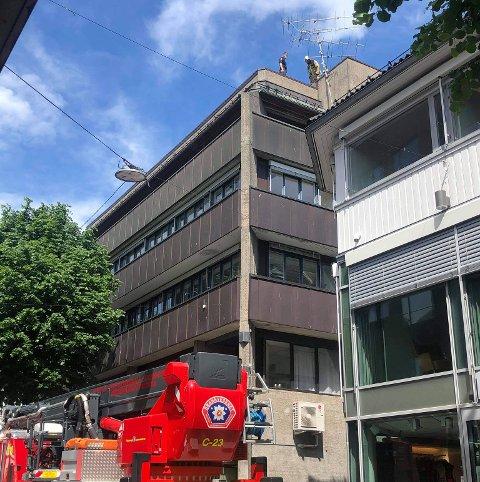 JOBBET PÅ TAKET: På grunn av ledningsnettet i luften over Storgaten, kunne ikke brannvesenet bruke liften da de skulle utføre sikringsarbeidet.