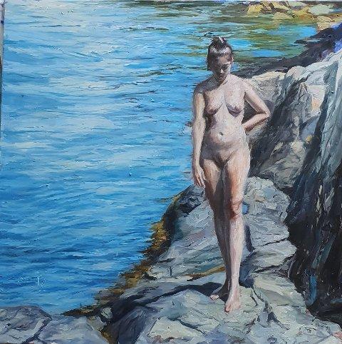 KUNST: Maleri, malt av Roar Kjærnstad, som kommer med sin kunst til Steinkjermartnan.