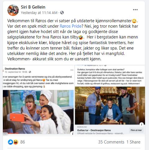 BEKYMRET FOR STEREOTYPER: Siri Beate Gellein la tirsdag ut dette innlegget på sin private Facebook-side. Det har fått stor oppmerksomhet.